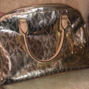 Michael Kors Gold Logo Cindy Dome Satchel